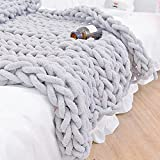 Twomissone Luxury Chunky Knit Chenille Bed Blanket 50x60 Large Knitted Throw Blanket Warm Soft Cozy Bulky Blankets for Cuddling up in Bed, on The Couch or Sofa (50'x60')