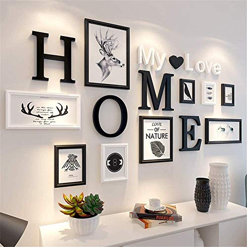 USRVR Collage Picture Frames Home Gallery Creative Solid Wood Photo Wall Black White Photo Picture Frame Collage Modern Simple Large Multi Photo Frames Wall Set 9 Frames for Home Office Bedroom Etc