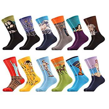 WeciBor Men s Art Van Gogh Dress Renaissance Multicolor Colorful Funny Cotton Crew Socks Wholesale 12 Packs