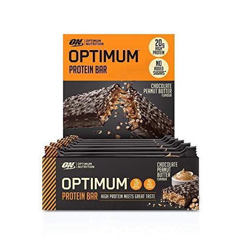 Optimum Nutrition Protein Bar, Barre Proteine Avec Whey Protéine, Sans Sucre Ajouté, Riche en Proteine, Faible en Glucide, Chocolat Beurre de Cacahuète, Boîte de 10 (10 x 62 g)