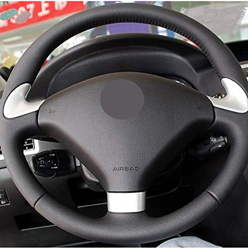XIAOBAOBEI DIY Negro Suave Cuero Artificial Cubierta del Volante del Coche para Peugeot 307 SW 2004-2009 407407 SW 2004-2009 307 CC 2004-2009-Gray_Thread