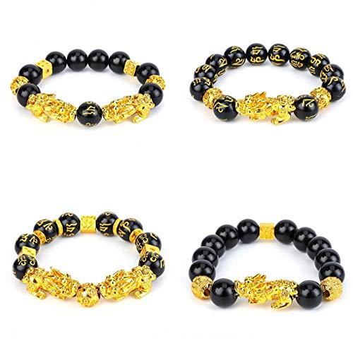 WANLIAN 4 pulseras Pixiu Feng Shui de obsidiana negra de riqueza Pixiu para hombres tallados a mano bandas mantra para mujeres pulseras elásticas