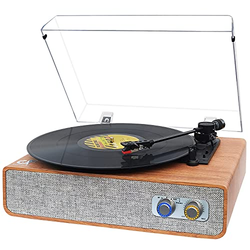Vinyl Record Player Bluetooth Turntable with Built-in Speakers, Vintage Turntable for Vinyl Record 3 Speed, Vinyl Player Portable with Magnetic Cartridge LP Phonograph Record Player, Brown Wood