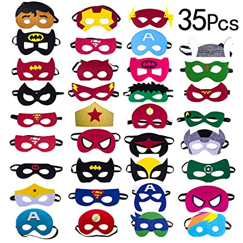 Yidaxing 35 x Superhelden Masken, Filz Masken Superhero Cosplay Party Masken Weihnachten Halloween Maske Augen Masken mit Elastischen Seil von 3 bis 12 Jahre alt