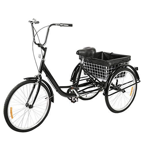 Z ZELUS 24 Zoll Dreirad 3-Rad für Erwachsene Fahrrad Trike 3 Rad Fahrrad Dreirad Pedal mit Einkaufskorb (Schwarz)