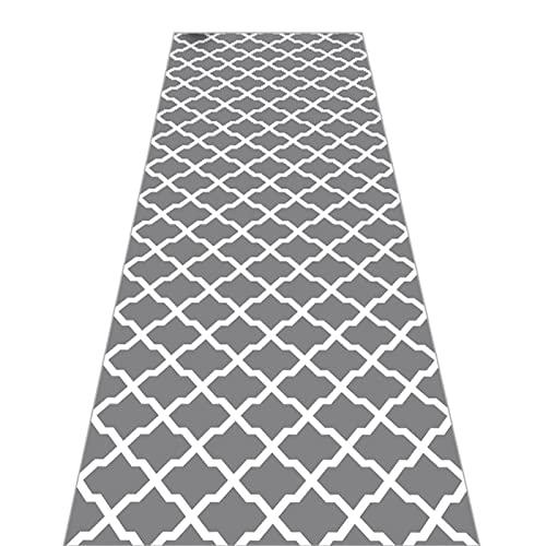 SESOUK Tappeto Corridore Corridoio Cucina Antiscivolo Casa Ufficio Tappetino Lavabile Moderno Design Geometrico Grigio Tappetino Lungo(Size:80×250cm)