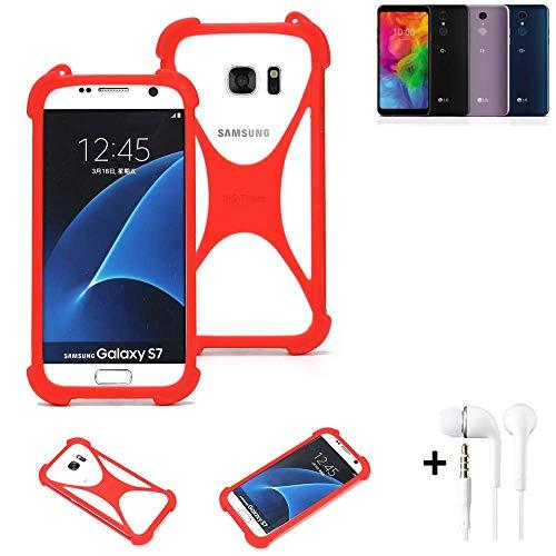 K-S-Trade® Handyhülle + Kopfhörer Für LG Electronics Q7 Alfa Schutzhülle Bumper Silikon Schutz Hülle Cover Case Silikoncase Silikonbumper TPU Softcase Smartphone, Rot (1x),