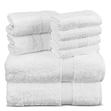 Indulge Towels 8-pieces Value Pack-Natural Turkish Cotton Towel Set with 2 bath towels, 2 hand towels and 4 wash clothes, White
