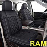 LUCKYMAN CLUB 83D-XFG Ram Seat Covers Full Set, Fit for Some of The 2006-2020 Ram 1500 2500 3500 Crew Cab& Quad Cab Truck, with Faux Leather (83XFG-Black)