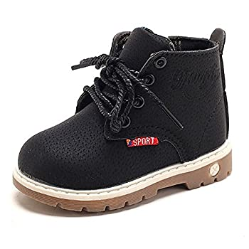 Antheron Baby Kids Boots - Boys Girls Rubber Sole PU Leather Warm Winter Shoes Hiking Snow Ankle Boots Toddler/Little Kid  Black,24