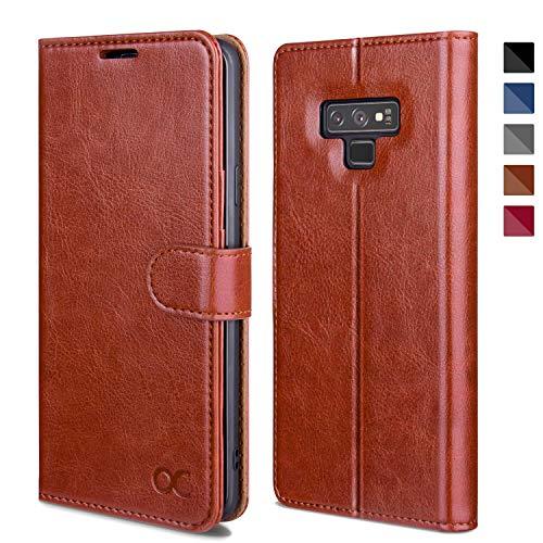 OCASE Samsung Galaxy Note 9 Hülle, Handyhülle Samsung Galaxy Note 9 [Premium Leder] [Standfunktion] [Kartenfach] [Magnetverschluss] Leder Brieftasche für Galaxy Note 9 Braun