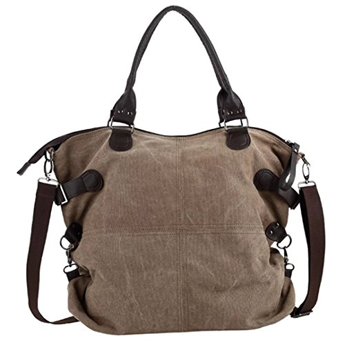 LABABE Women's Casual Canvas Everyday Purse Hobo Shoulder Bag - brown