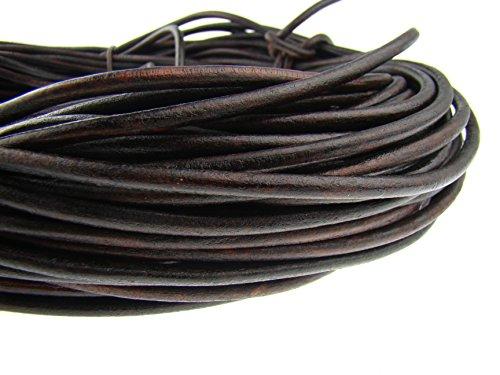 esnado Cordón de cuero redondo 6 mm. Marrón antiguo – 5 metros
