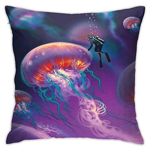 Hangdachang Moderna Funda de cojín para cojín, Buzo con Medusas Gigantes, mágico Mundo Submarino, Imagen Artesanal, diseño Marino, Funda de Almohada Decorativa con Acento Cuadrado, 18