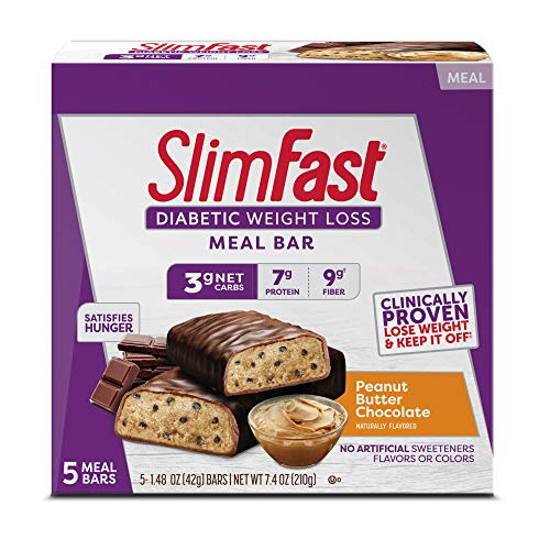 SlimFast Diabetic Weight Loss Meal Replacement Bar - Peanut Butter Chocolate - 5 Count Box - Pantry Friendly
