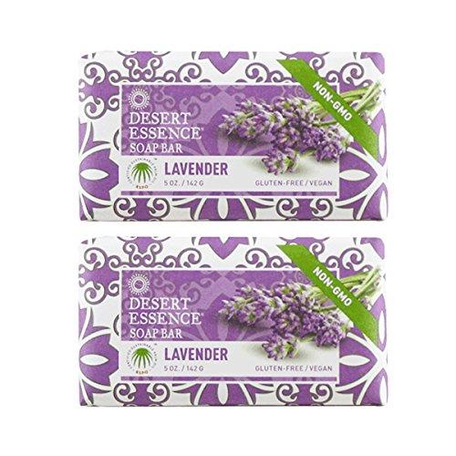 Desert Essence Lavender Soap Bar With Tea Tree Oil and Lavender Oil, Gluten-Free/ Vegan, 5 oz. (Pack of 2)