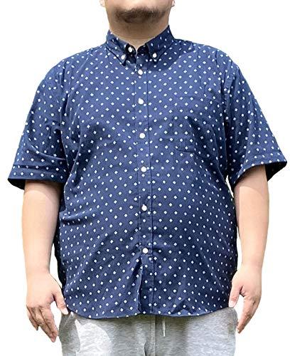 [カンタベリーウッド] ボタンダウンシャツ 大きいサイズ メンズ 麻 小紋 吸水速乾 半袖 リネン ネイビー 3L