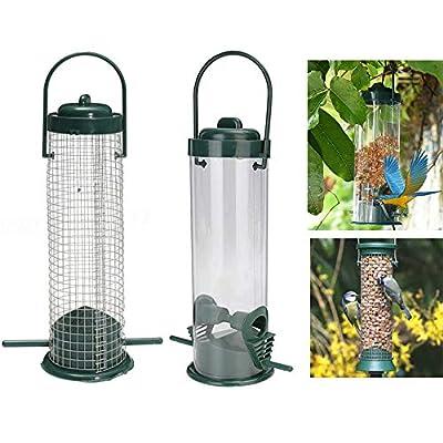 2PCS Bird Feeders Hanging Wild Bird Seed Feeder Peanut Nut Feeder for Small Birds Garden Outdoors, Green by Lifreer