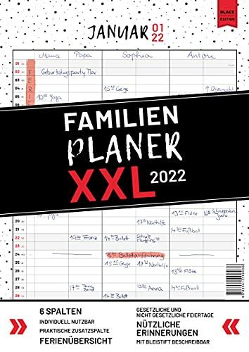 XXL Familienplaner 2022 zum Aufhängen in DIN A3. Hochwertiger und übersichtlicher Familienkalender 2022 mit 3 bis 6 Spalten, plus einer Zusatzspalte. ... Feiertage, Ferien und Zusatzinfos.