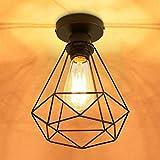 Lámpara de Techo Vintage, Retro de Plafón Industrial Zócalo de Jaula de Hierro de Metal Negro E27...