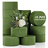 TAOPE Floral Foam, 15 PCS Round Dry Floral Foam Blocks, Green Styrofoam Blocks for Artificial Flowers, Great for Flower Arrangements for Wedding Aisle Flowers, Party Decoration