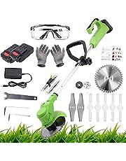 Gras Trimmer, 48V elektrische strimmers draadloze, draadloze grastrimmer Edger, met batterij en oplader telescopisch elektrisch voor tuin clearing onkruid bloembomen (48V 650W)