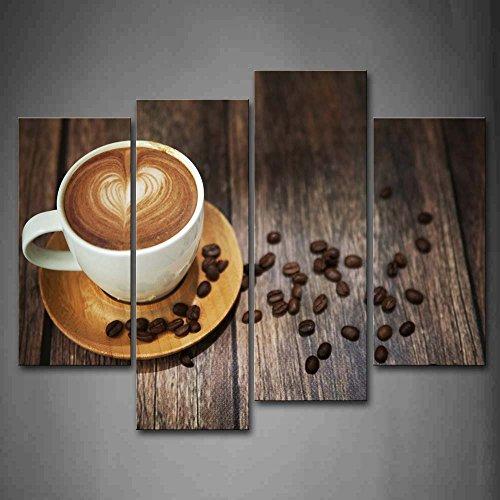 First Wall Art - Una Taza de Café con Patrón de Corazón Comedor Cuadros en Lienzo Granos de Café en la Mesa Decoracion de Pared 4 Piezas Modernos Mural Fotos para Salon,Dormitorio,Baño