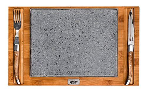 Rechteckige Lavasteinplatte für das Kochen direkt auf dem Tisch