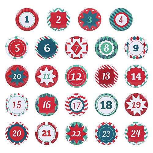 GWHOLE Christmas Advent Calendar 1-24 Numbers Buttons for Christmas Countdown Calendar Making, Style 1