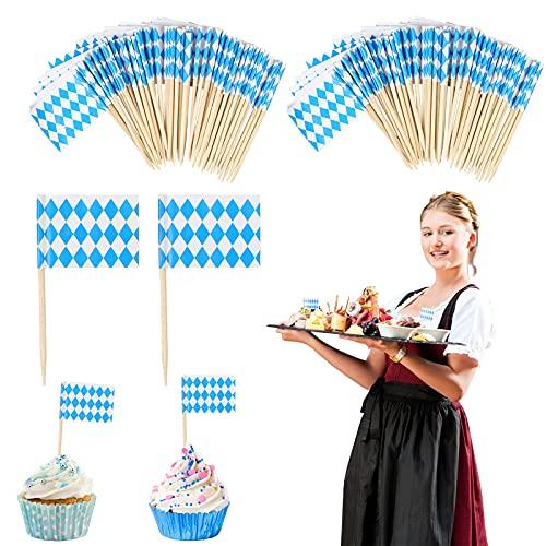 LOOPES 100pcs Oktoberfest Decoracion Tarta Salchicha Topper Decorativo Cupcakes Baviera Munich Alimentos Bávaros para Fiestas Decoración Mesa Adornos Festival Cervezas Cuadrados Azul Blancos Madera.