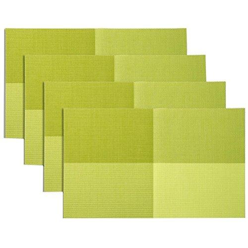 Jeu de tapis table de 4, isolation de Set de table PVC anti-dérapant isolation lavable revêtement protecteur pour Table tapis pour Table de cuisine(Vert)