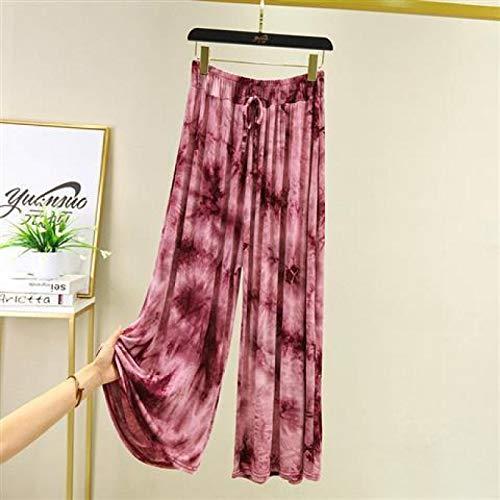 AOZLOVEC Primavera Verano Mujer Pantalones anchos de cintura alta Estampado todo fósforo Bolsillos sueltos Pantalones hasta el tobillo XL jiuhong