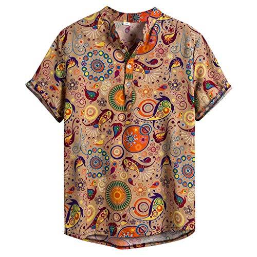 CAOQAO Camisa Lino Hawaiana Hombre Algodn de Lino Impresin de Hawaii Manga Corta Camisas Funky Blusa