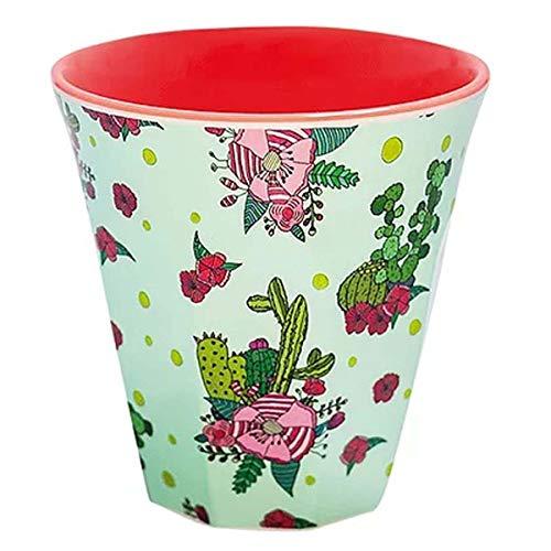 Les Trésors De Lily [R0629 - Gobelet mélamine 'Saperlipopette' Vert Rouge (Cactus) - 7.5x7.5 cm