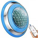 YASBED Luz para Piscina RGB Multicolor 47W Iluminación de Piscinas IP68 Luces Sumergibles Piscina con Bluetooth APP Control Luz LED Impermeable Wall Mounted [AC/DC 12-24V]