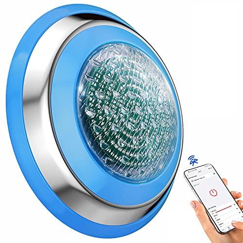 YASBED Luz LED subacuática con Bluetooth RGB para piscina, espectáculo de luz flotante, 12 V, iluminación LED subacuática RGB, cambio de color para el estanque, piscina o spa