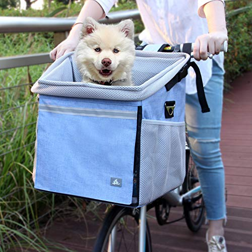 RAYMACE Dog Bike Basket Bag with Reflective Stripe Pet Bicycle Booster Carrier for Puppy or Small Breeds Travel with Your Pet Safety