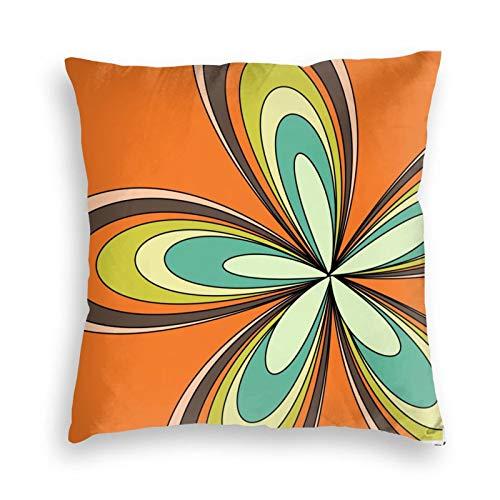 Funda de almohada, estilo retro de los años 70, diseño de flores hippie, decorativo, cuadrado, 45,7 x 45,7 cm, para sofá, dormitorio, sala de estar