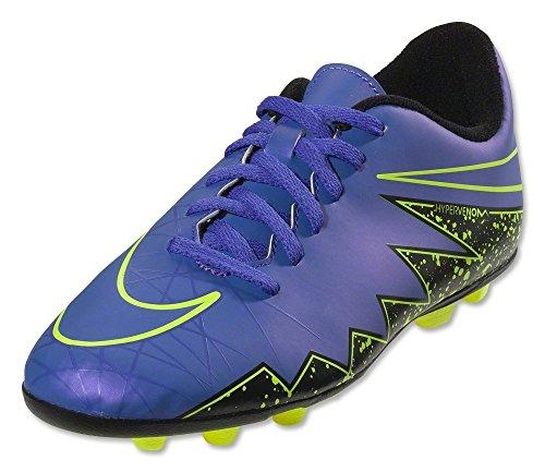 Nike JR Hypervenom Phade II FG-R, Botas de fútbol Niños, Morado/Negro/Verde (Hyper Grape/Hypr Grape-Blk-Vlt-), 37 1/2