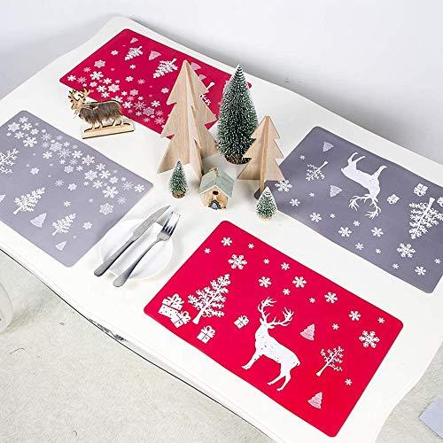N/Q 8 PCS Weihnachts-PVC-Tischsets Untersetzer-Set, waschbar hitzebeständiges Rentier Xmas hitzebeständige Tischsets für die Dekoration von Esstischen