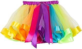Girl's Tutu Skirt Rainbow Short Skirt Children Colorful Dress Bowknot Pleated Skirt Tutu Short Skirts for Kids - Recommend...
