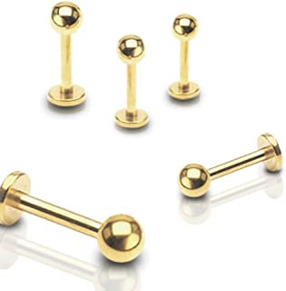 Gold Plated Over 316L Surgical Steel WildKlass Labret Studs (Sold by Piece) 14 GA, Length: 10mm, Ball: 4mm