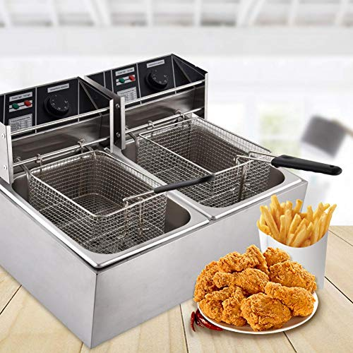 Fish Fryer Pot and Basket Countertop Kitchen Frying Machine Electric Deep Fryers w/Basket Lid, Stainless Steel French Fryer for Turkey, French Fries, More, 5KW 60Hz 110V (16L)