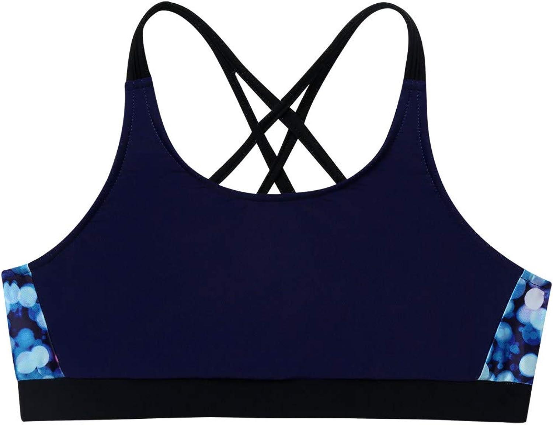 Kaerm Kids Girls Print Criss Cross Sport Training Bra Backless Straps Gym Workout Crop Top Sportwear