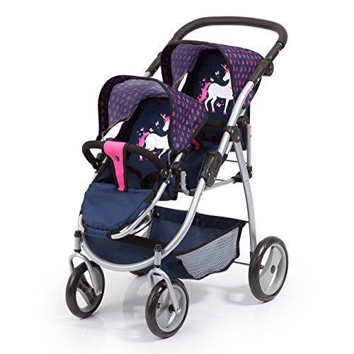 Bayer Design 26554AA Zwillingspuppenwagen für Puppen, modern, höhenverstellbarer Griff, zusammenklappbar, mit Einhorn Motiv, blau pink