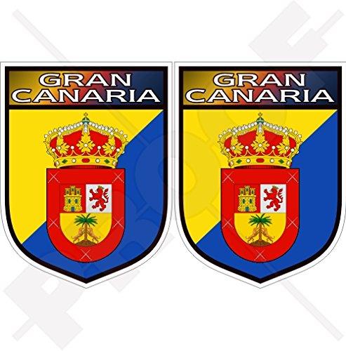Gran Canaria sköld kanarie öarna Spanien, Islas Canarias spanska 75 mm (3 tum) vinyl stötfångarklistermärken, dekaler x 2
