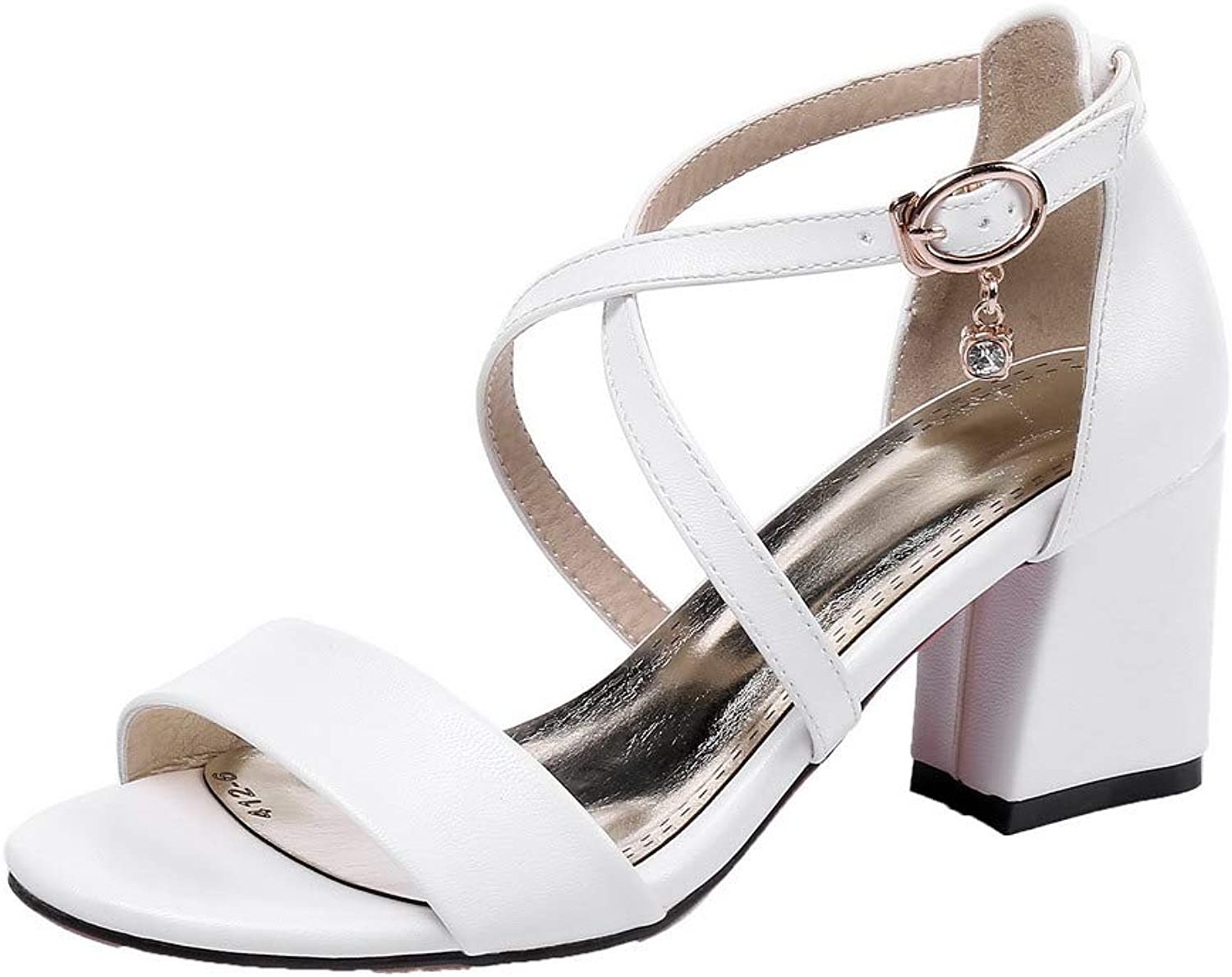 AllhqFashion Women's Pu Solid Buckle Kitten-Heels Sandals, White, 42
