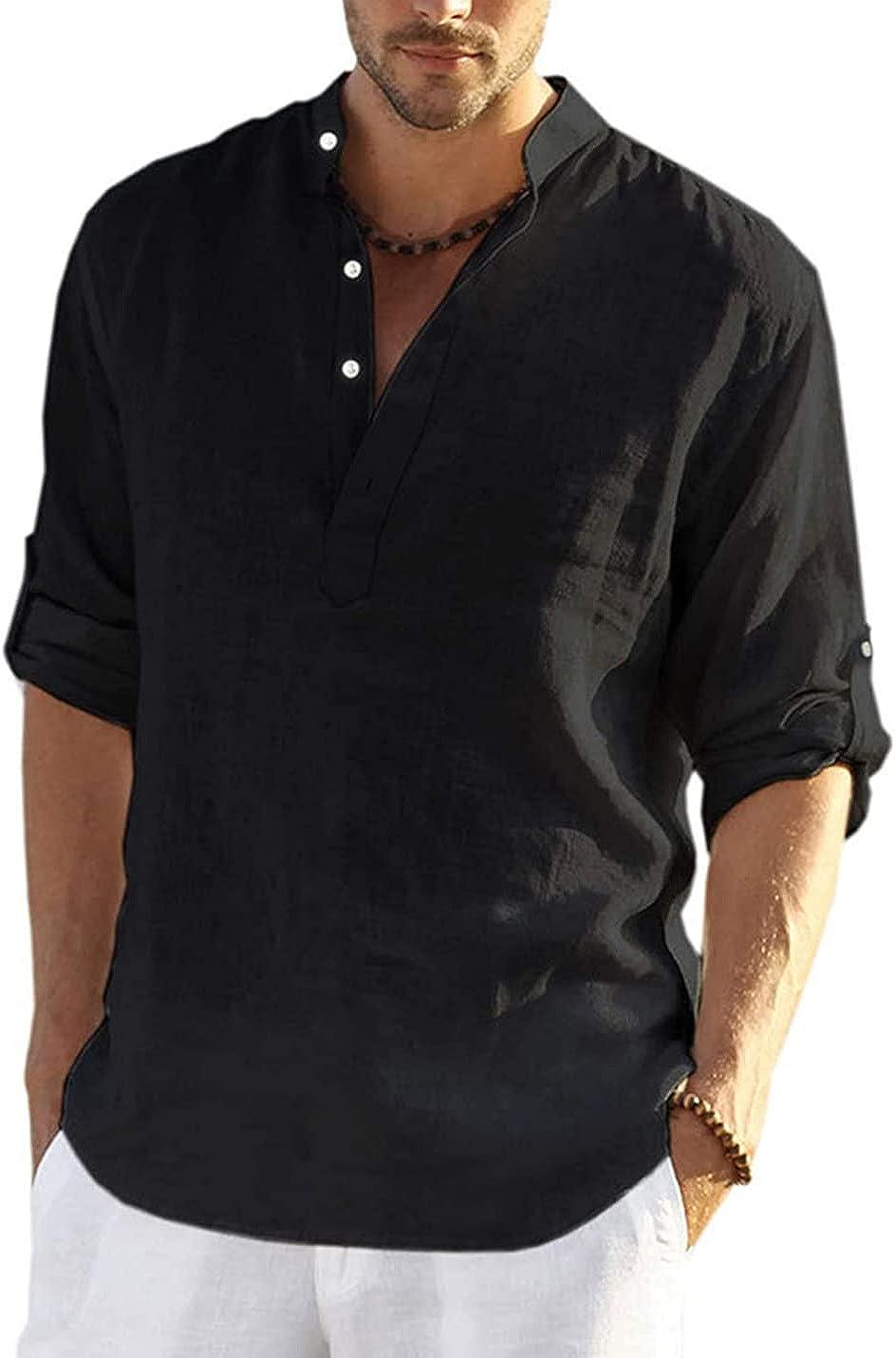 PEHMEA Men's Cotton Linen V Neck Roll-up Long Sleeve Henley Shirt Casual Button-Down Shirts