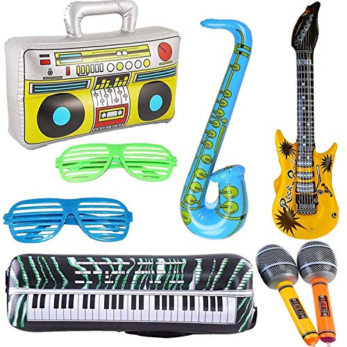 8PCS Inflatables Guitar Saxophone Microphone Boombox Keyboard Balloons Musical Instruments Accessories Luminous Glasses Glow in The Dark for Party Supplies Party Favors Balloons Random Color