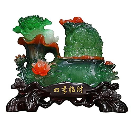 statua Estatua De Sapo De Feng Shui, Col De Jade De La Suerte, Sapo Dorado, Decoración, Tienda, Cajero, Apertura, Regalo, Sala De Estar, Gabinete De Vino, Gabinete De TV ( Size : 35*20*31cm )
